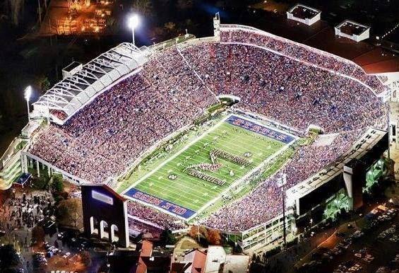 Ole Miss University Of Mississippi Rebels Football Inside View Of Full Vaught Hemingway Stadium Ole Miss Football Ole Miss Ole Miss University