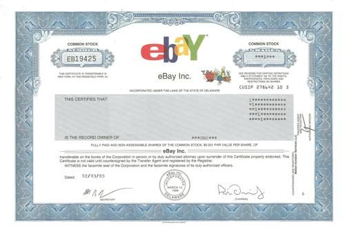 Ebay Stock Certificate  Scripophily  Famous Names  Stock And