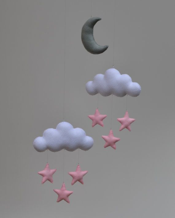Hand made children's Sweet Dreams mobile with Moon, Stars and Clouds.