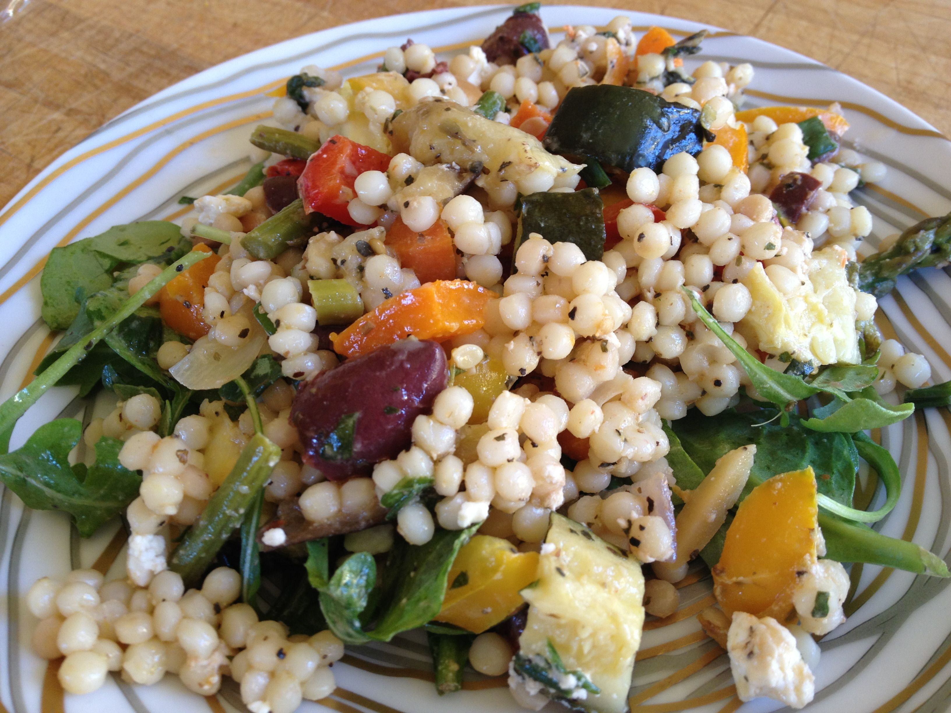 Summer vegetables are deliciously grilled, and paired with couscous pearls (or quinoa for gluten-free enjoyment)!
