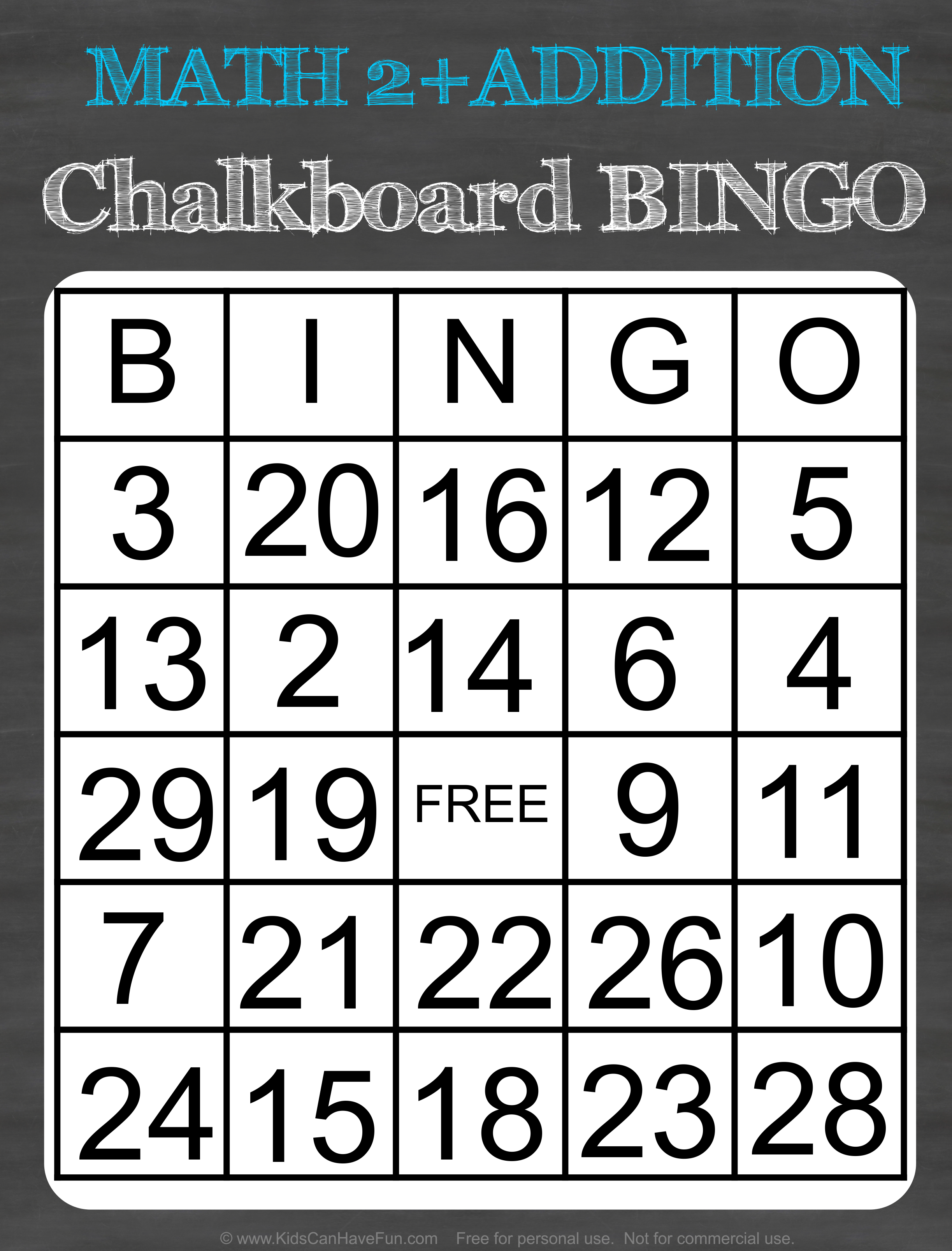 Math 2 Addition Chalkboard Bingo Game In
