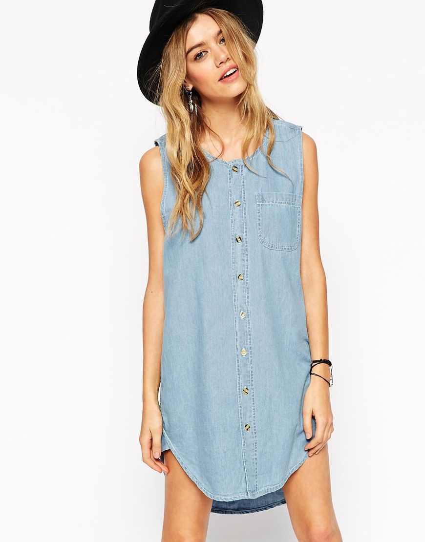 Reclaimed Vintage Button Front Tunic Shirt Tank Dress In Denim