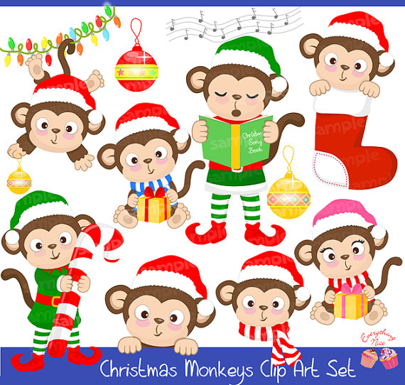 Christmas Monkeys Clipart Set 1Everything Nice Clipart and Party