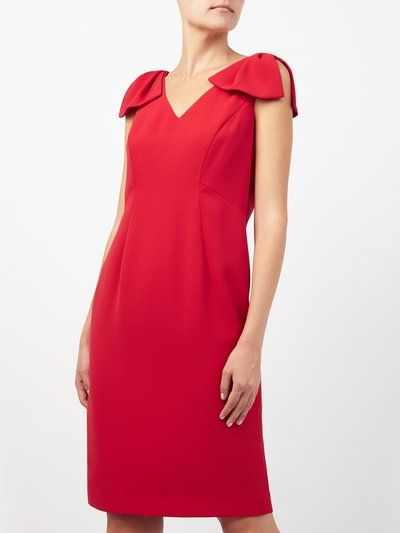 Jacques Vert red bow detail dress