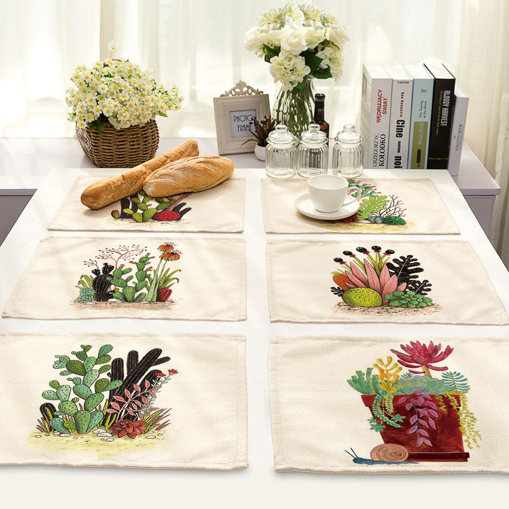 Hot Plants Placemats Succulent Cactus Dining Table Mat Disc Pads Bowl Pad Coasters Waterproof Table Cloth Pad Slip Table Napkins Kitchen Decor Kitchen Styling