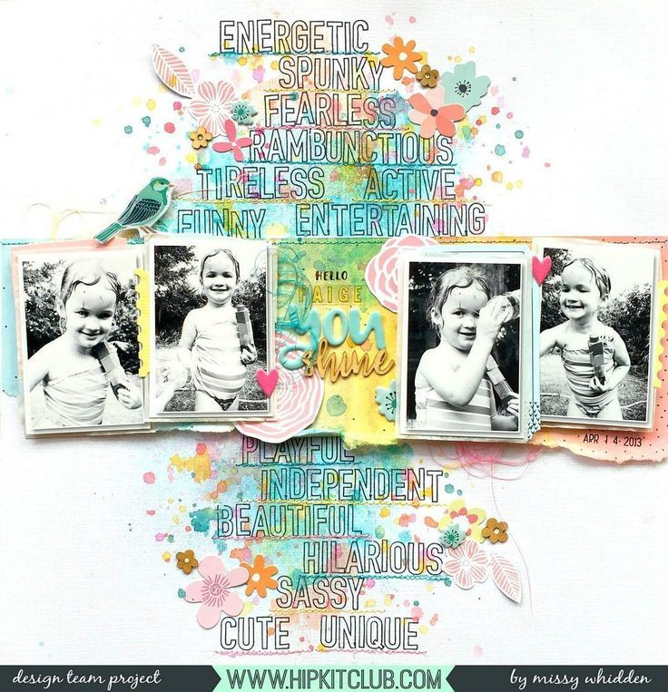 scrapbook page by Designer @missywhidden , features 4 photos, stamping and colorful layers