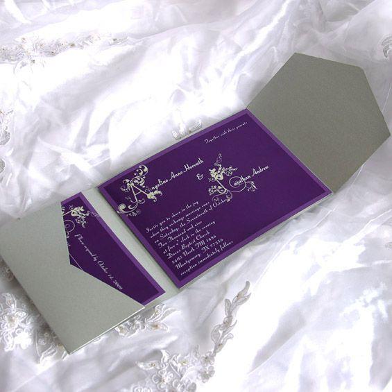 Vintage Purple Refinemnt Pocket Wedding Invitation UKPS025