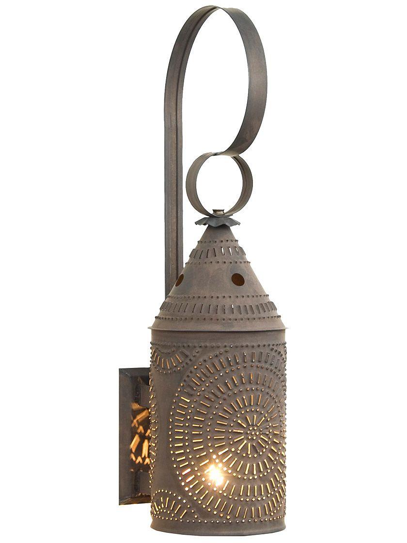 Large Punched Tin Wall Lantern With Blackened Tin Finish Primitive Lighting Tin Walls Wall Lantern