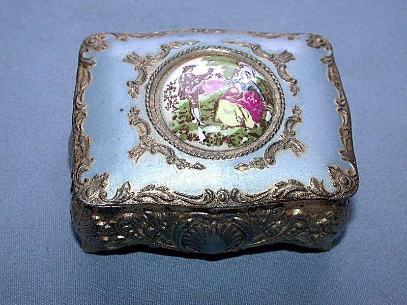 Antique Japanese 189021 Victorian Porcelain Medallion Metal Jewelry