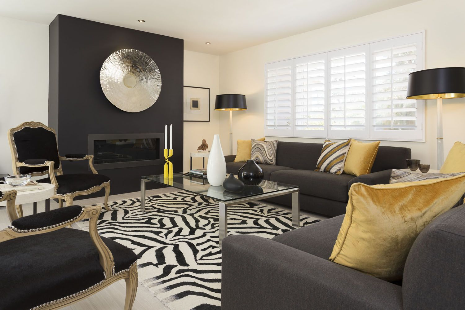 Hollywood Regency Style Living Room Decor With Lacroix Zebra Area Rug