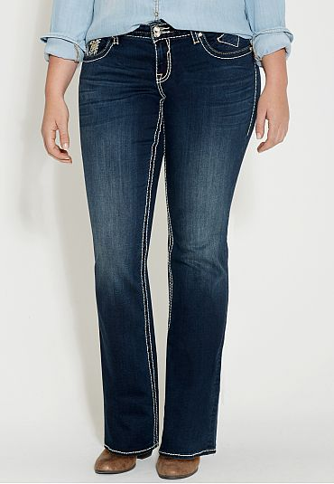 vigoss ® plus size dark wash jeans with snowflake back pockets ...