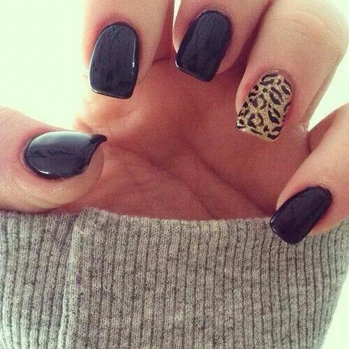 One Of My Fav Black With Leopard Print Nails Nails Inspiration Cute Nails