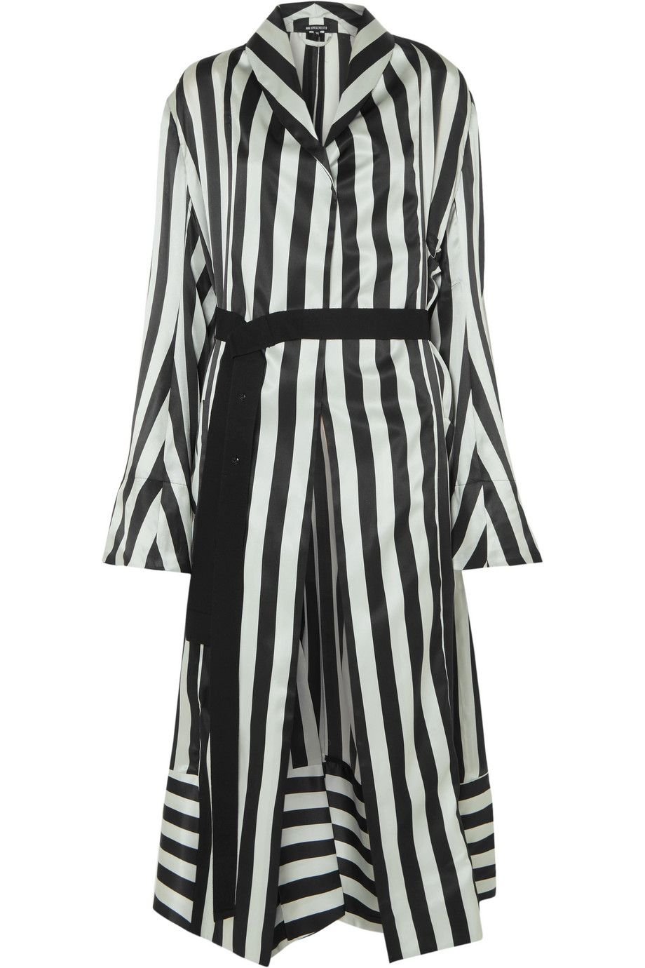 Low Price Sale Online Striped Silk-satin Robe - Black Ann Demeulemeester Cheap Free Shipping Best Store To Get JSdS0