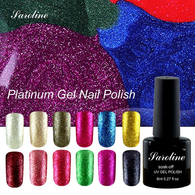 3D Diamante Glitter Gel Polish High Gloss Lucido Platino Colore ...