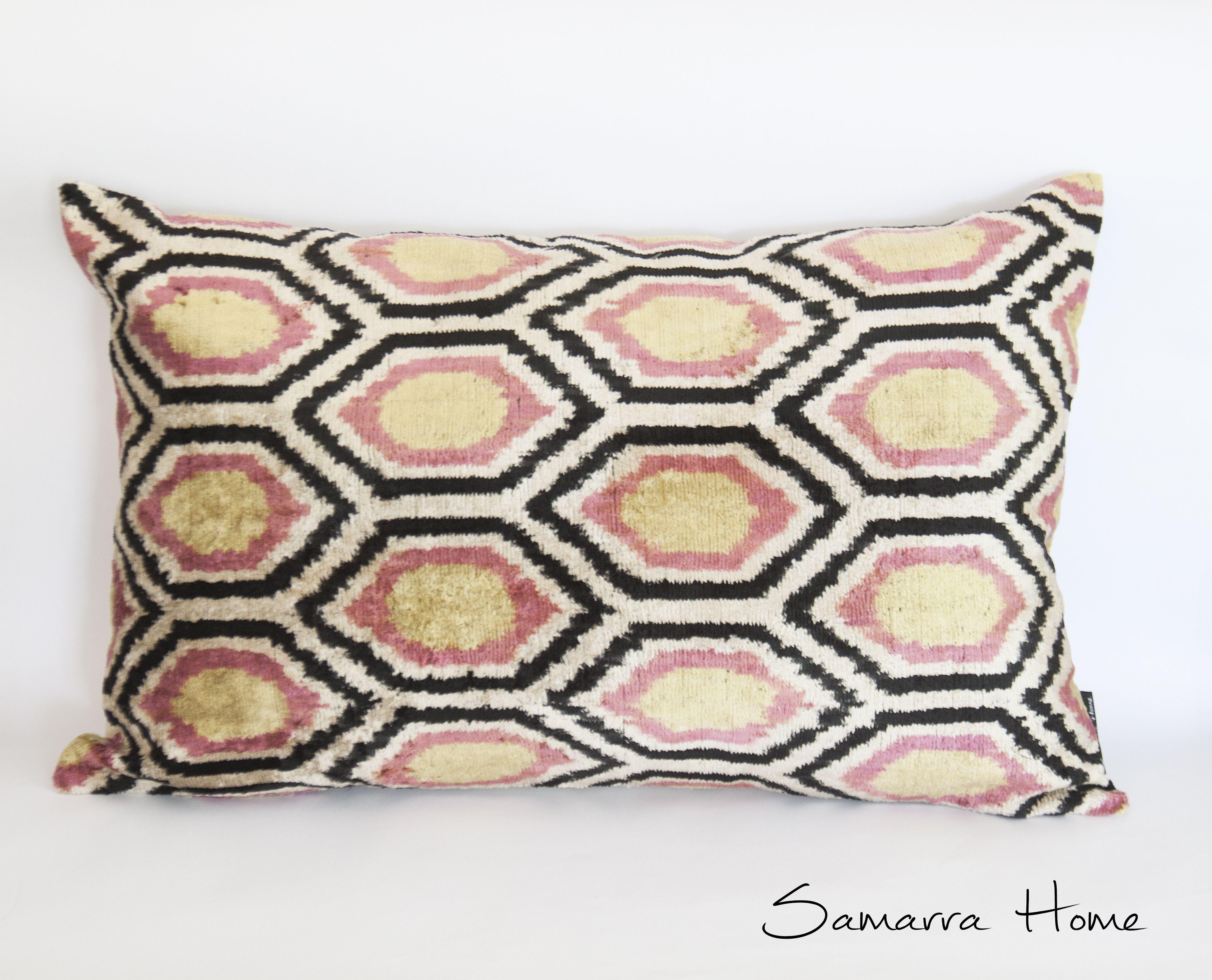 Geometric Pillowcase, Pink Ikat Pillow Cover, Silk Ikat Pillowcase, Velvet Ikat Cushion Cover, Ikat Throw Pillows, Velvet Lumbar Pillows