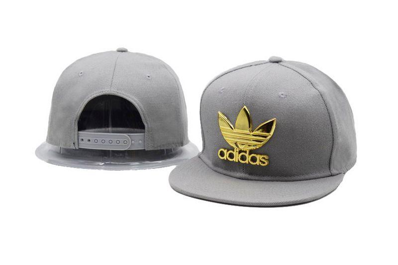 00b46ce5100 Men s Adidas The Original Clover Gold Metal Logo Snapback Baseball Hat -  Grey