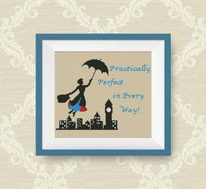 BUY 2, GET 1 FREE! Mary Poppins cross stitch pattern, Quotes cross stitch pattern, Instant Download,  pdf counted cross stitch pattern, P189