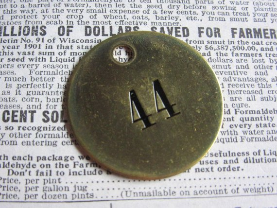 Number Tag Charm Brass Number 44 Tag 1 1/2 Inch Shiny #44
