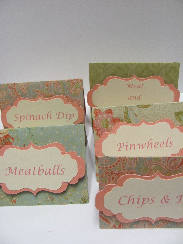 Set of 12 Food Labels, Buffet Food Labels, Bridal Shower decorations ...