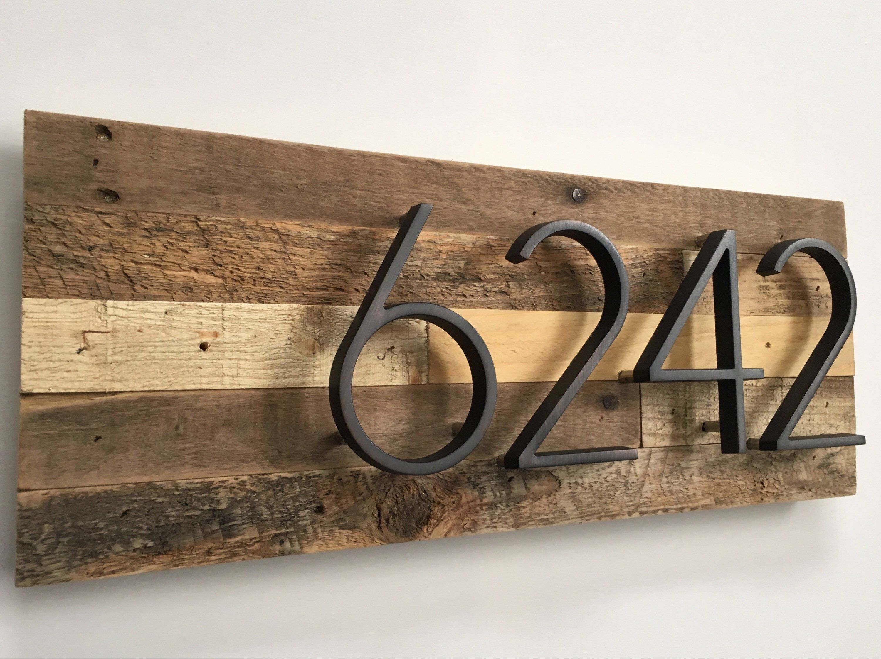 house warming gift reclaimed wood Rustic House Number Sign barn wood  address plaque home decor floating