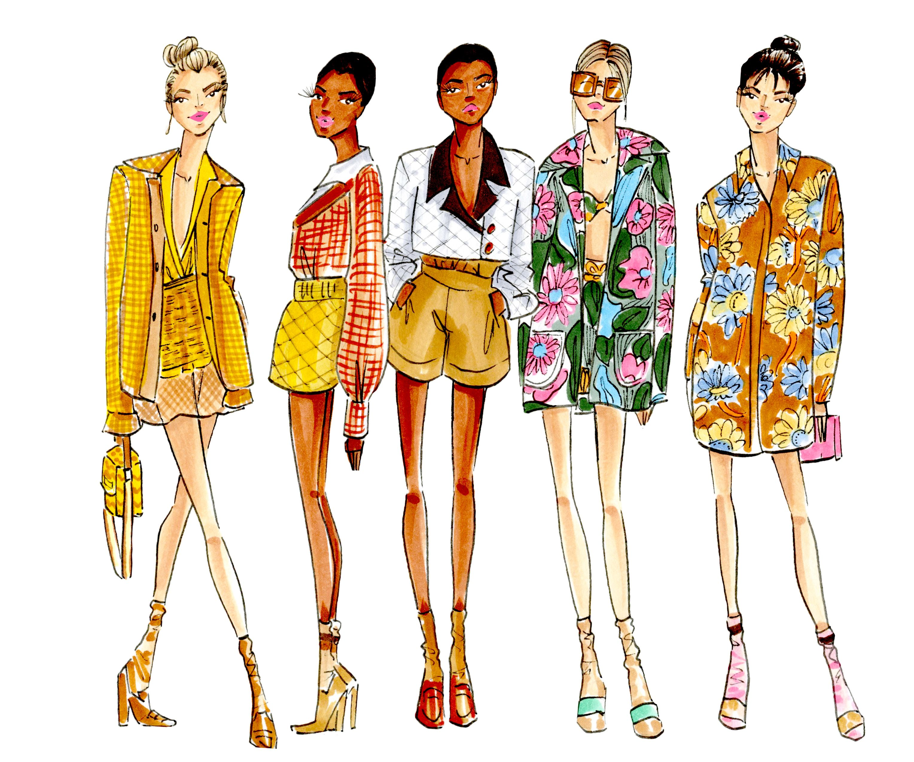 Fendi illustration, fashion illustration, fending spring/summer