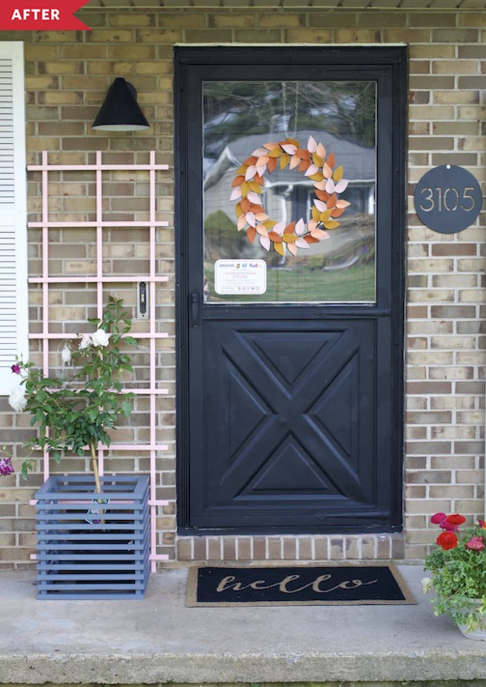 Before And After This 1970s Front Door Got A Springy Redo In Just A Weekend In 2020 Storm Door Makeover Painted Storm Door Door Redo