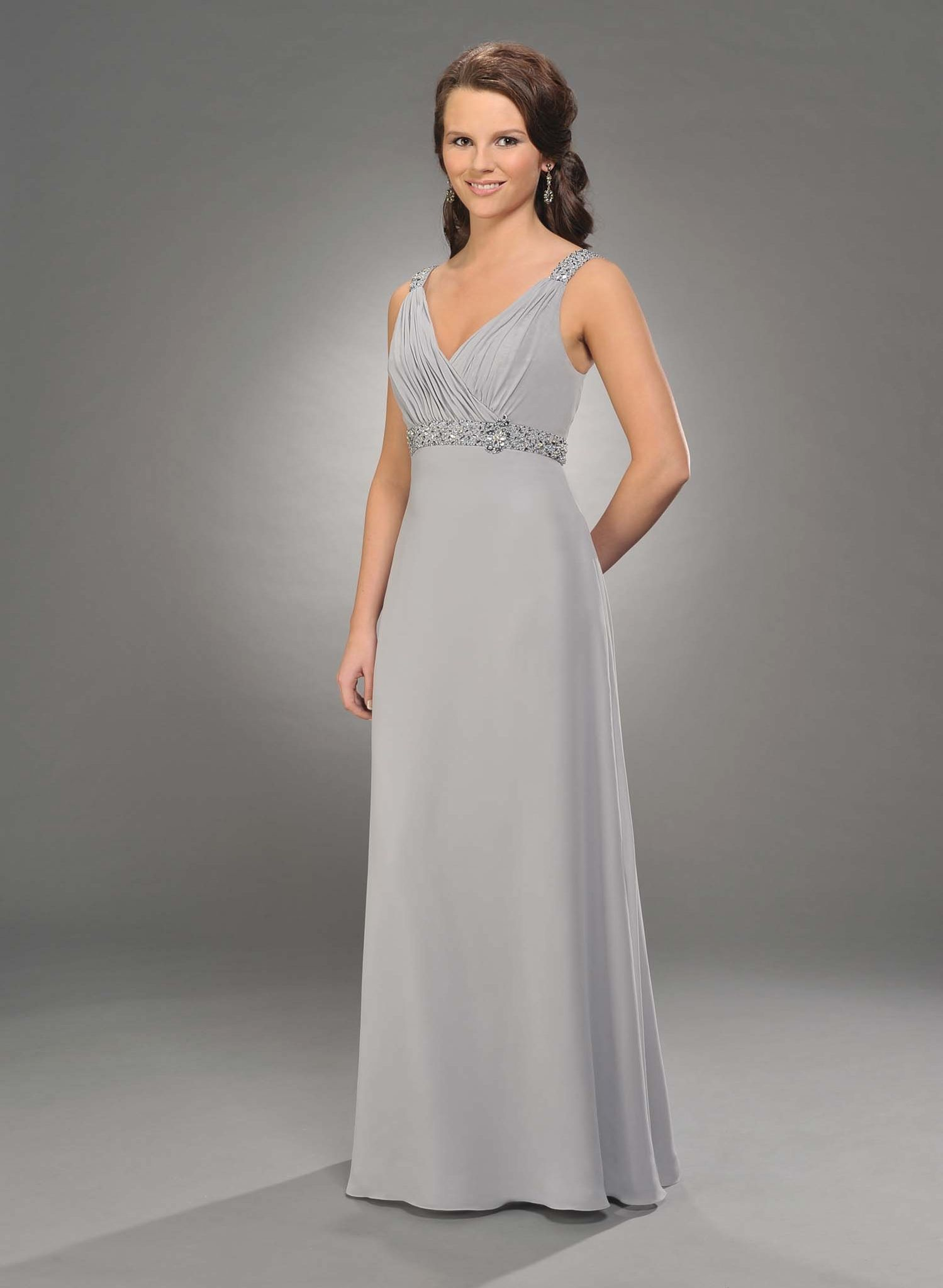 Silver chiffon prom dress