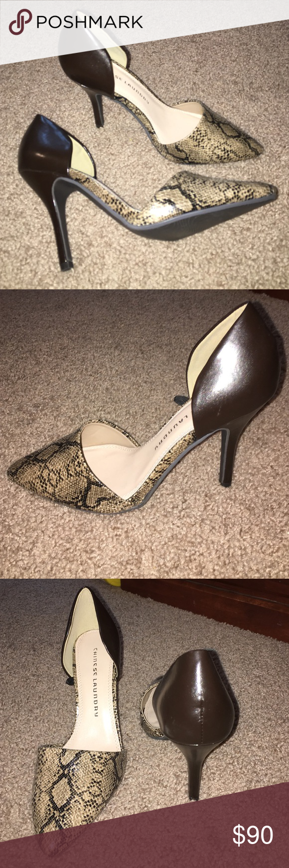 snakeskin pumps Love the shoes, super cute snakeskin pumps. These heels add flare to any outfit, only worn once. Very good condition. Chinese Laundry Shoes Heels