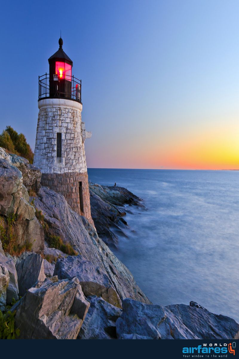 Beautiful Lighthouse by the Ocean at sunset   #travel