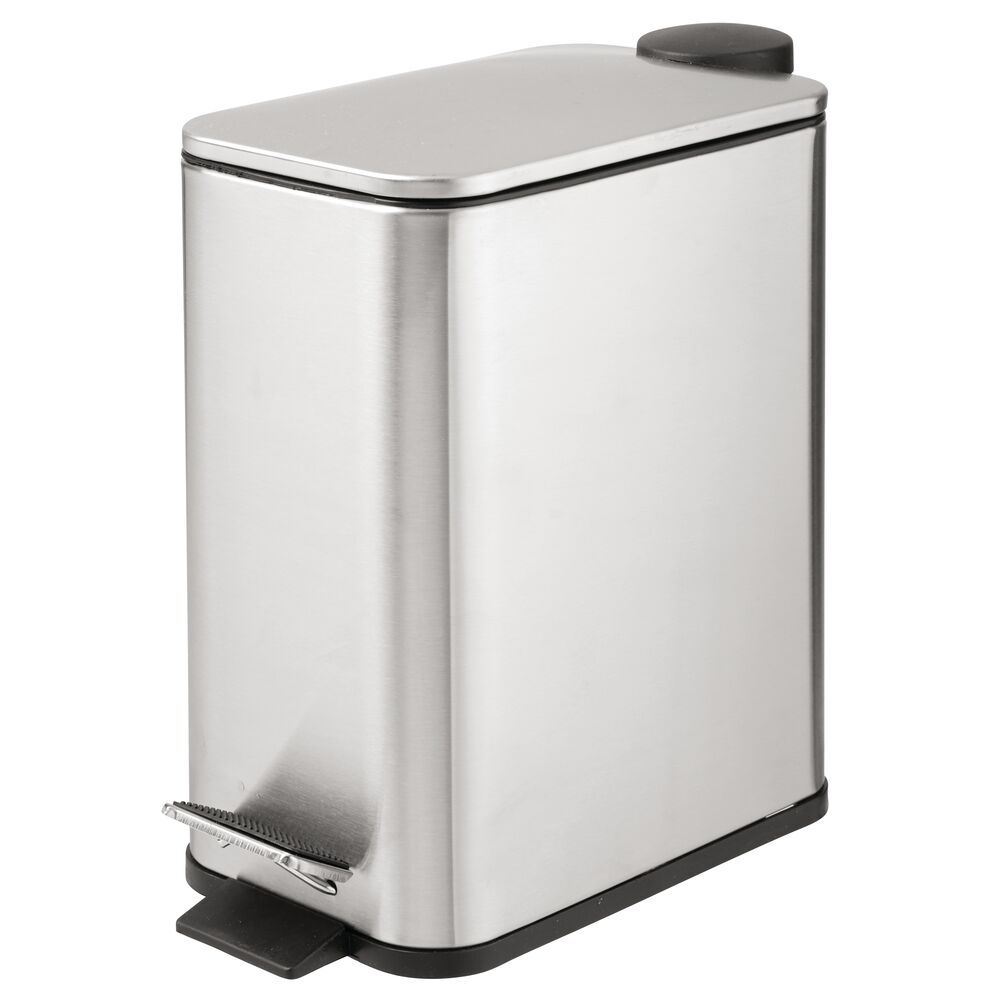 Mdesign Slim 5 Liter Metal Step Trash Can Garbage Bin Rectangular Matte White 10 X 5 5 X 11 25 Metal Steps Bathroom Vanity Storage Vanity Countertop