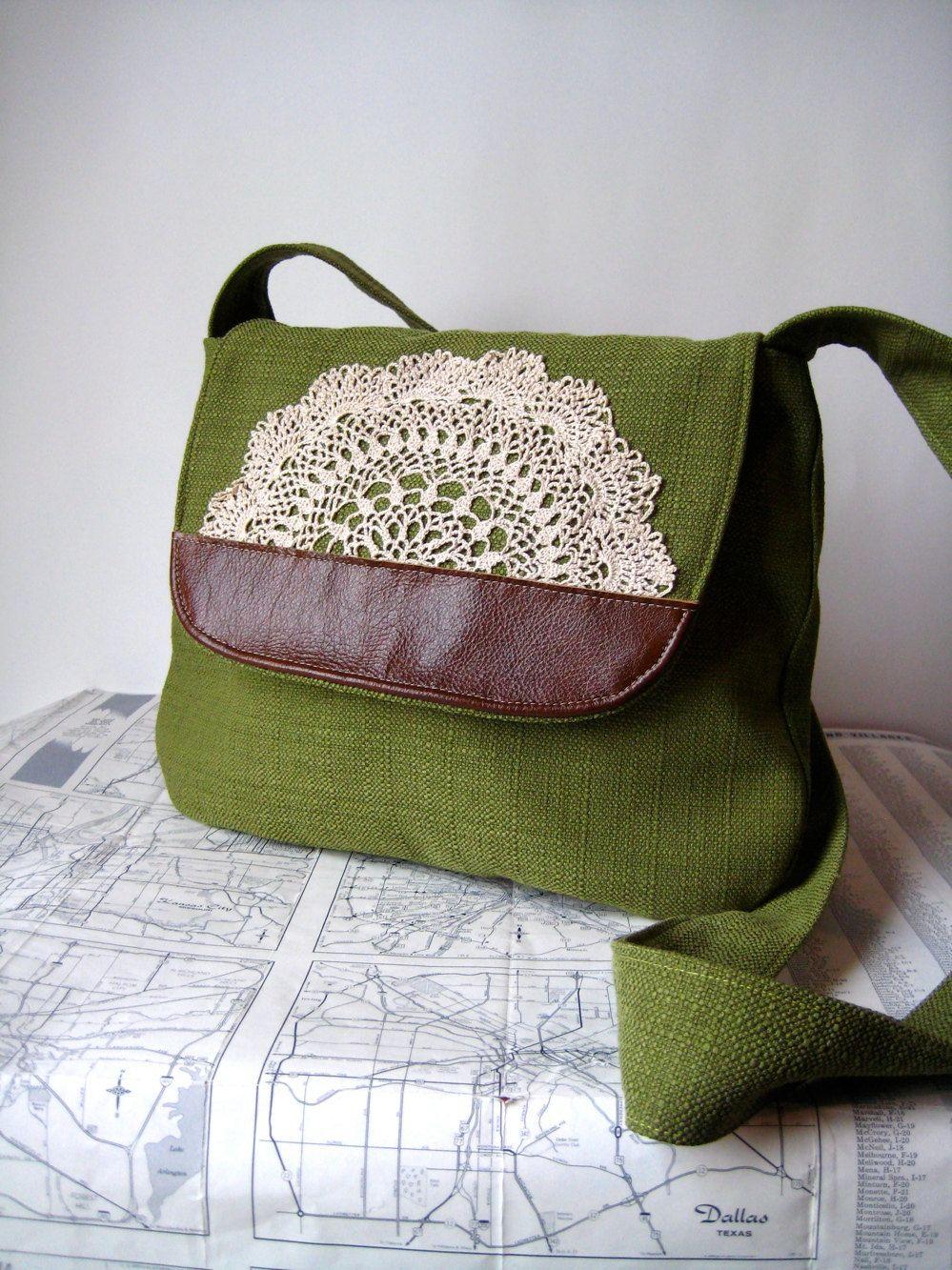 Wyoming crossbody messenger bag by atlaspast on Etsy, $48.00