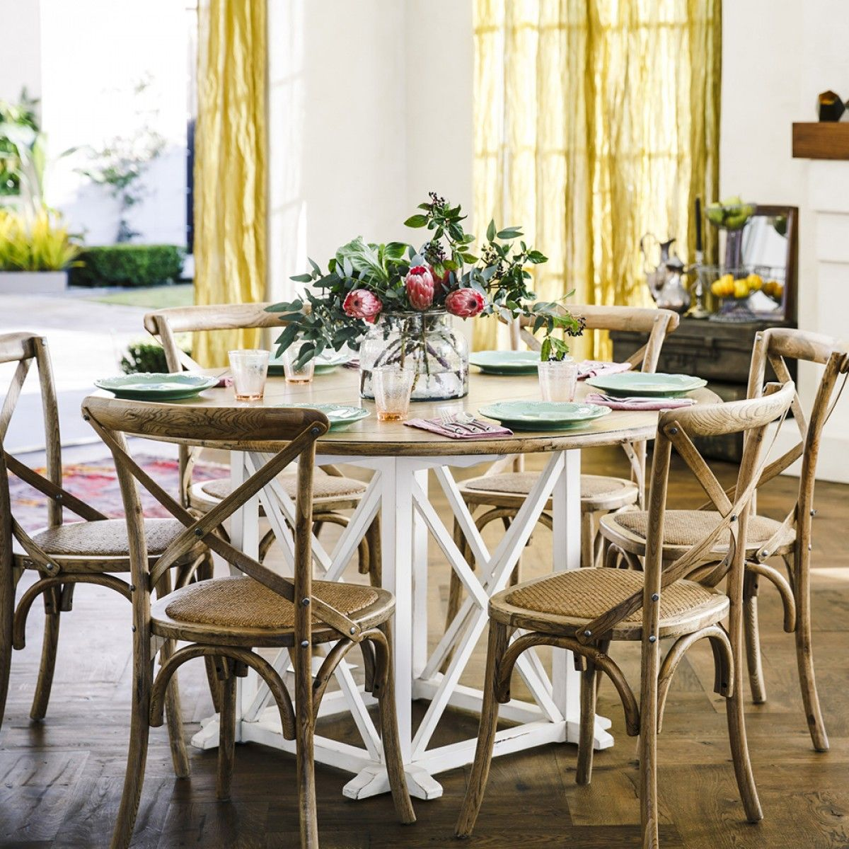 Round Oak Table And 6 Chairs Rib Chair Johanson Design Provincial White With Cross Back