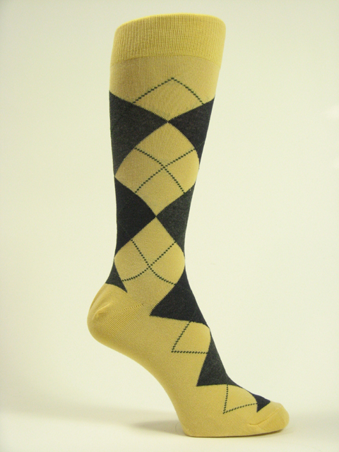 Yellow Charcoal Black Mens argyle socks mid calf
