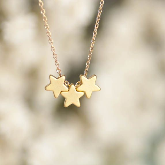 Gold Star Necklace, Tristar Necklace, Three Wishes Necklace,