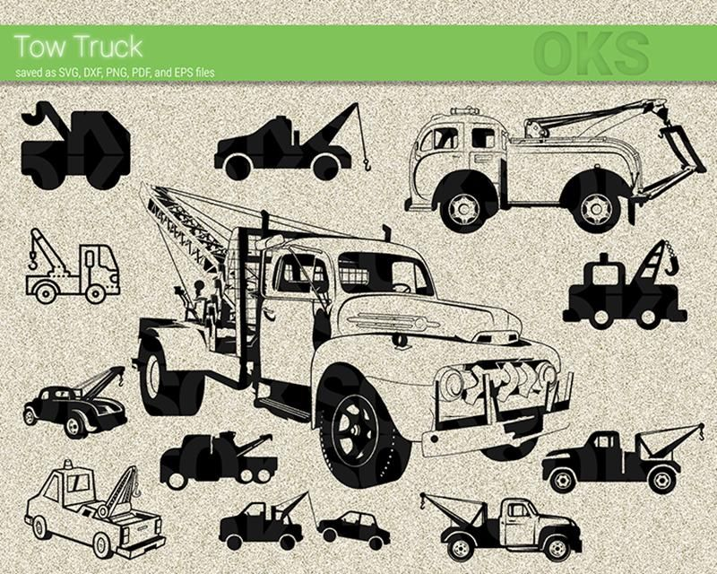 Tow Truck Svg Dxf Vector Eps Clipart Cricut Download Tow Truck Free Towing Truck Art