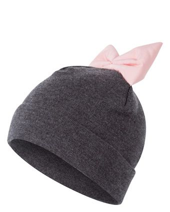 federicamoretti-blu-accessoires-graue-beanie-mütze-mit-rosa-schleife