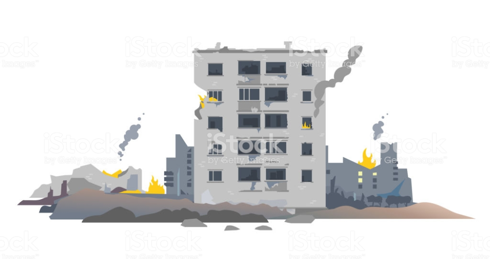One Five Story Eastern European Destroyed Building Between The Ruins Free Vector Art Building Illustration Stock Illustration