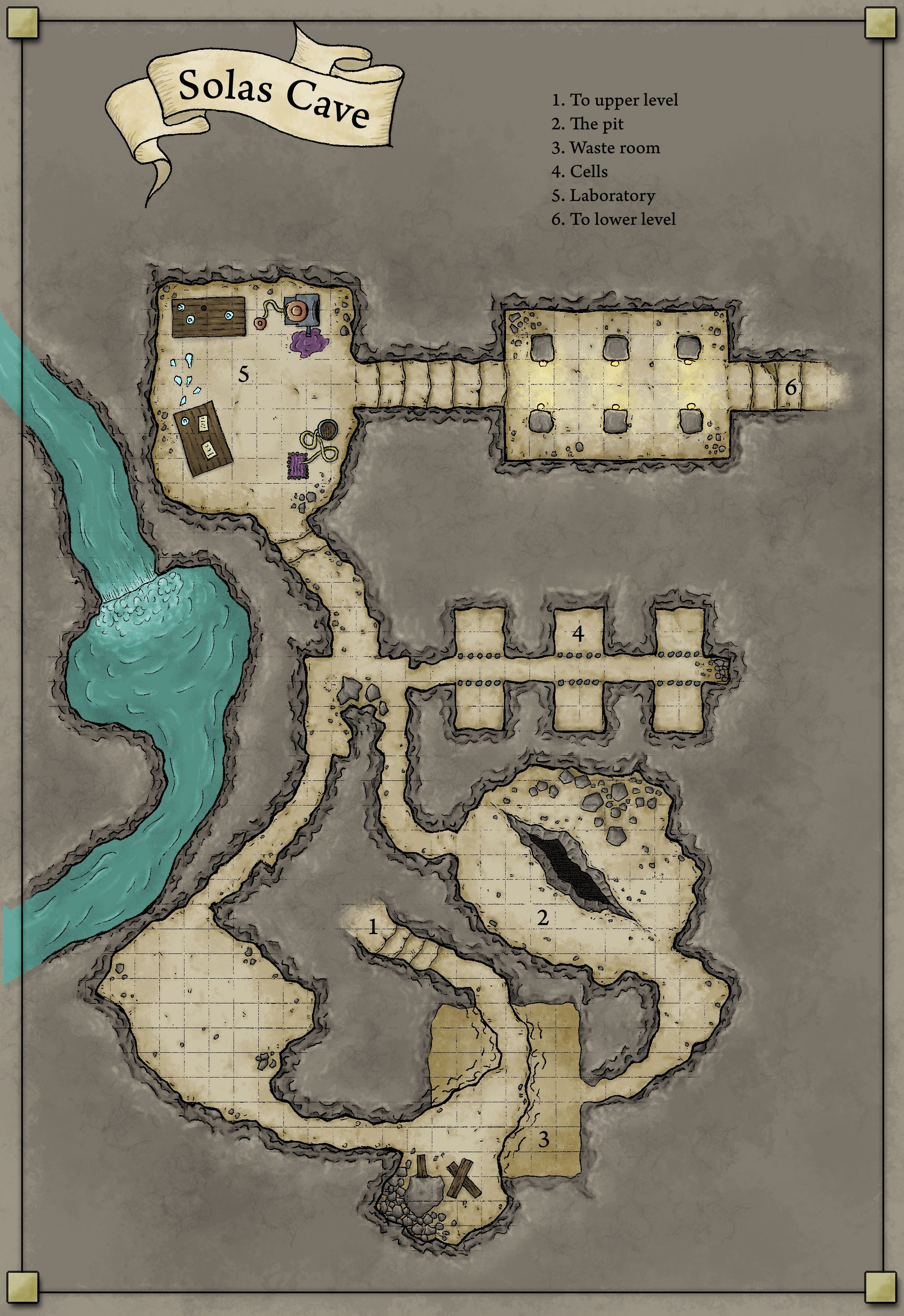 Solas Cave - map for D&D  Hand drew and then digitally painted