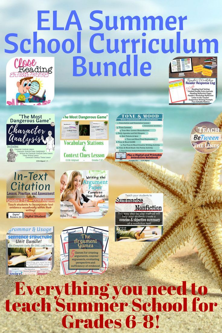 ELA Summer School Curriculum Bundle Grades 6 8 CCSS Aligned