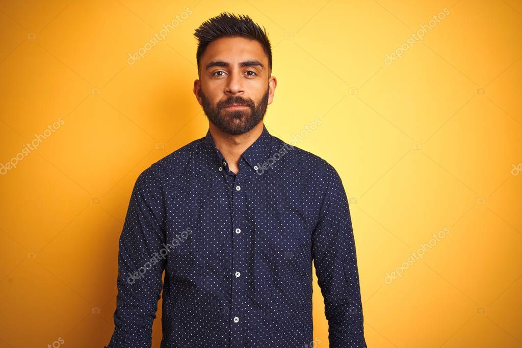 Young Handsome Indian Businessman Wearing Shirt Isolated Yellow Background Relax Sponsored Businessman Wearing Indian How To Wear Business Man Shirts