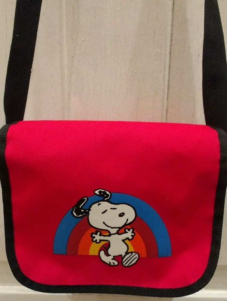 Loungefly Peanuts Snoopy Dancing under a Rainbow Red crossbody Adjustable strap #Loungefly #MessengerCrossBody