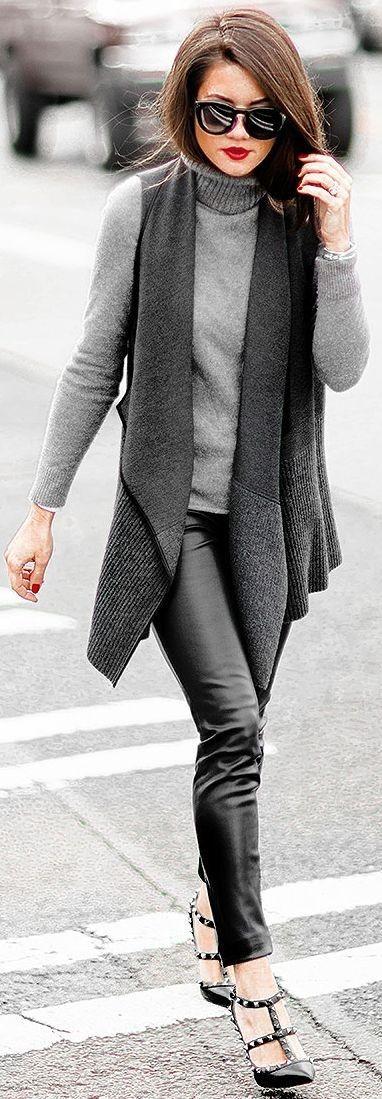 Grey Wool Cascade Collar Vest Winter OutfitSarah Styles Seattle