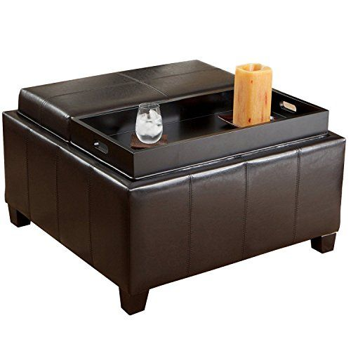 Home Life Mansfield Leather Espresso Tray Top Storage Ottoman Home ...