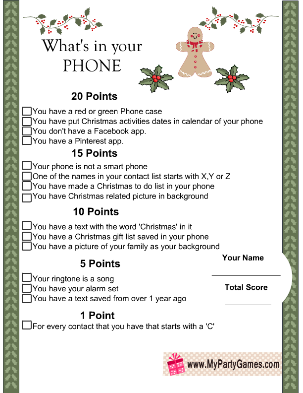 What S In Your Phone Christmas Game Printable Christmas