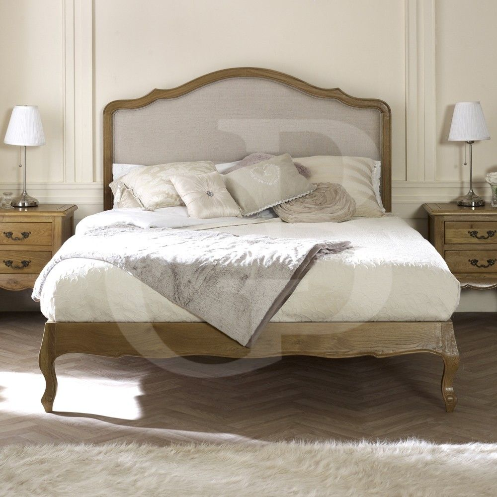 GB504 Double French Oak Upholstered Low Foot Board Bed
