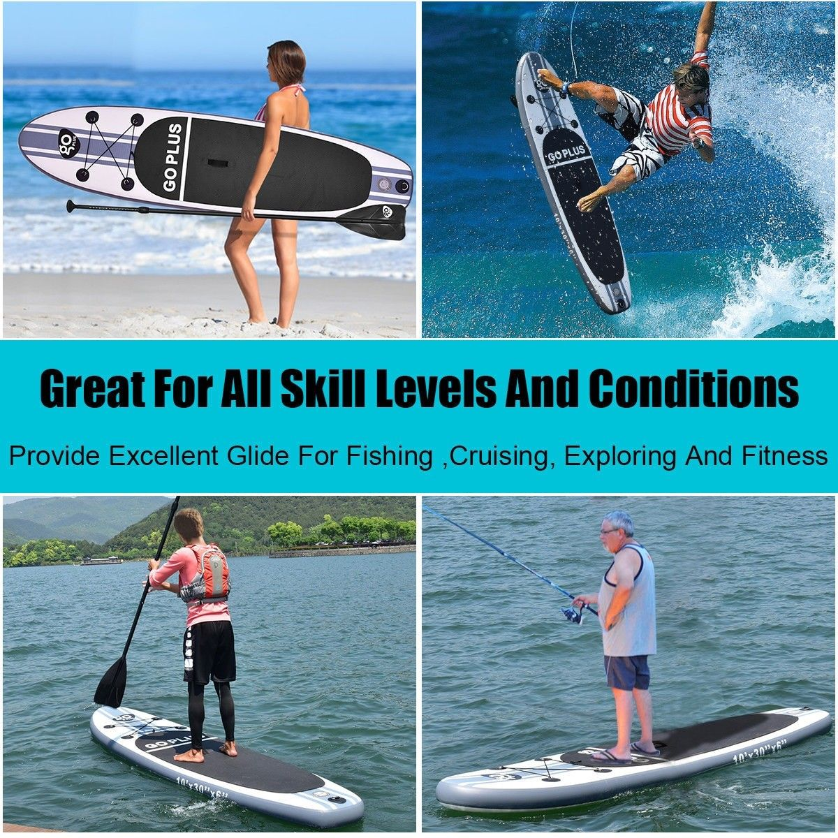 -Black 3 Piece Ten Toes Boards Adjustable Aluminum iStand Up Paddle Board