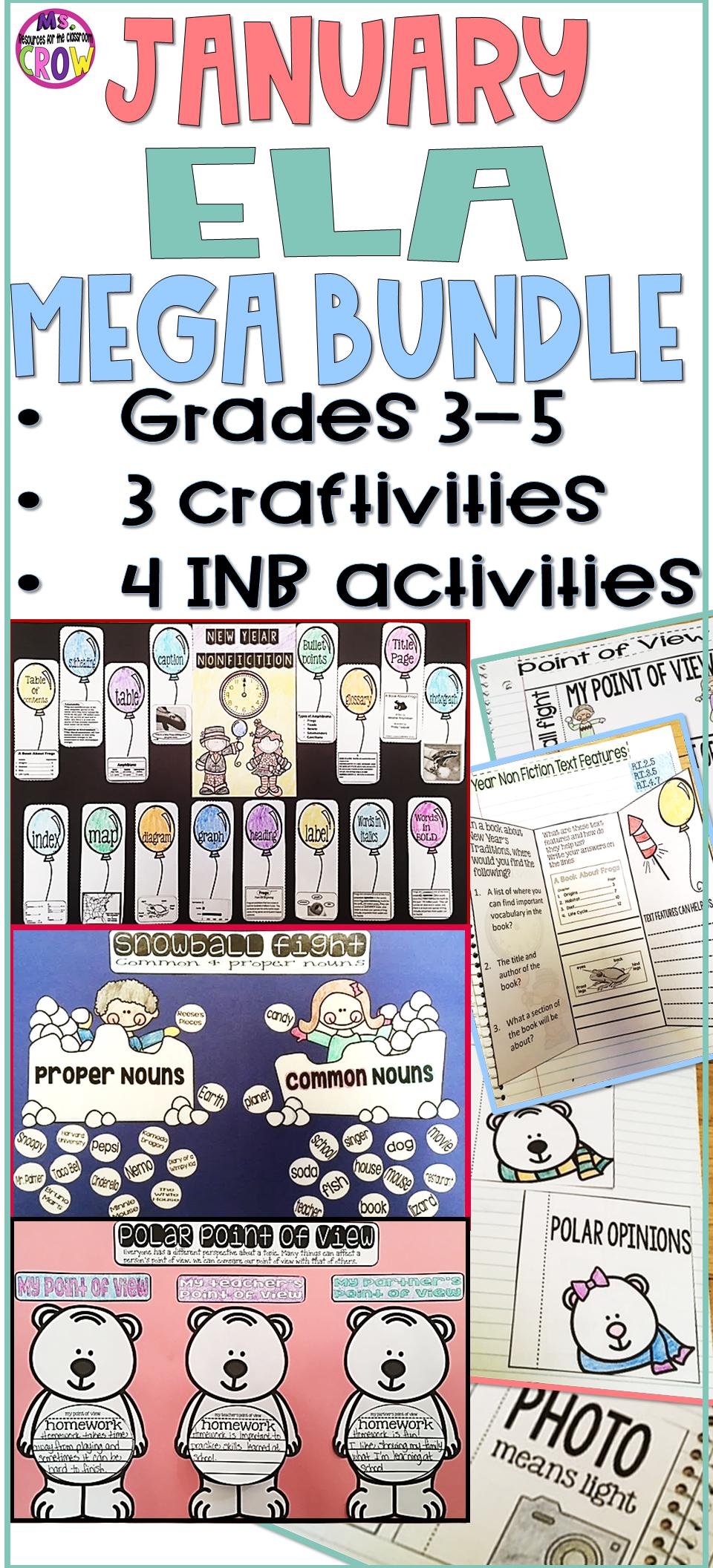 Ela Mega Bundle January In 2021 Teaching Mathematics Interactive Notebook Activities Ela Skills [ 2112 x 960 Pixel ]