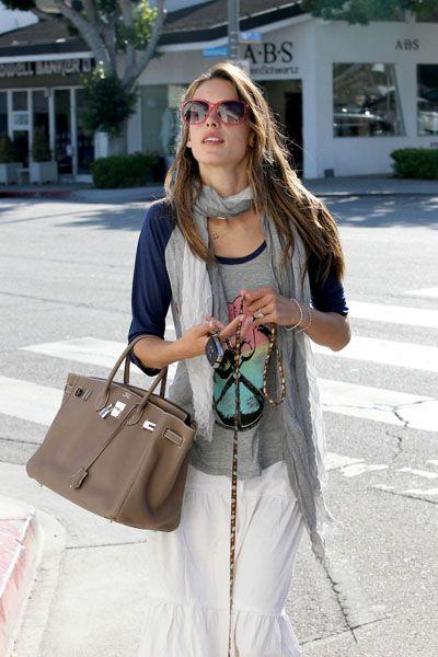 c614f3c7dc Alessandra Ambrosio sporting her Hermes Birkin bag.