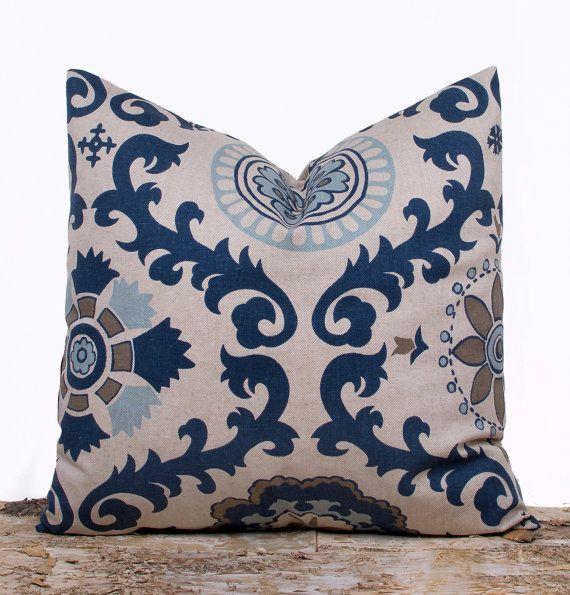 Indigo Blue Throw Pillow Cover, Suzani Designer Pillow Case, Guest Bedroom Decor, 16 x 16 on Etsy, $14.00