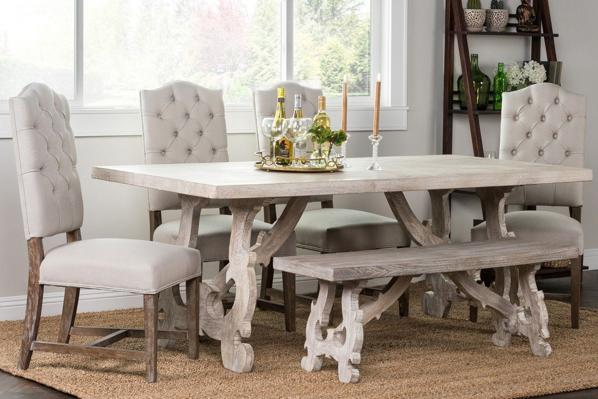 Elena 7 Piece Dining Set 51010550set Kosas Home Dining Table With Bench Dining Table